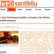 """Contrapunt poètic a """"Fet a Sant Feliu"""""""